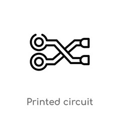 Outline printed circuit connections icon isolated vector
