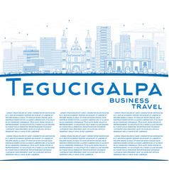 outline tegucigalpa skyline with blue buildings vector image