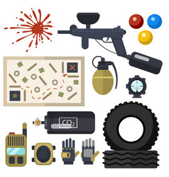 paintball club symbols icons protection uniform vector image