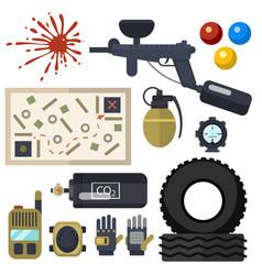 Paintball club symbols icons protection uniform vector