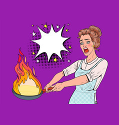 pop art housewife in the kitchen holding pan vector image