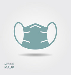 protection face mask flat icon with shadow vector image