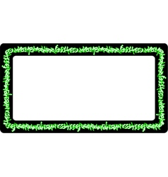 Rectangular rounded frame green neon graffiti tags vector