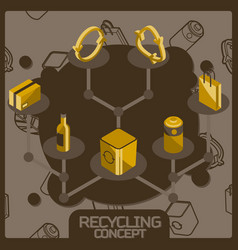 recycling color concept isometric icons vector image