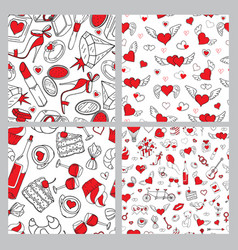 romantic seamless patterns set valentines day vector image