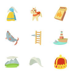 rural icons set cartoon style vector image
