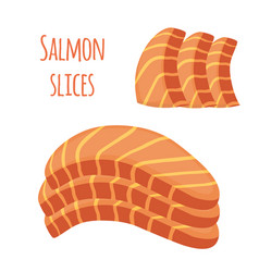Salmon slices pieces of fish fillet fish steak vector