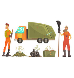sanitation workers gathering garbage and waste vector image