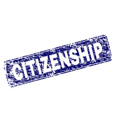 Scratched citizenship framed rounded rectangle vector