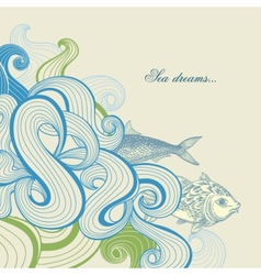 Sea waves and fish vector