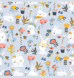 seamless pattern cute cartoon bunnies and color vector image