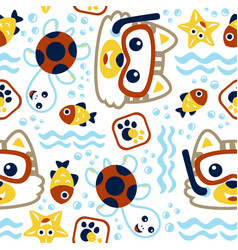 seamless pattern with little cat cartoon vector image