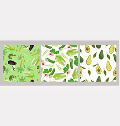 Seamless patterns vegetables vector