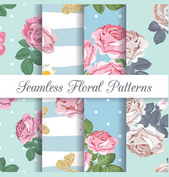 set collection floral seamless patterns vector image