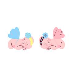 Set cute newborn babies with wings sleeping vector