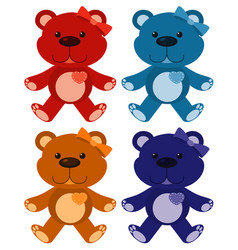 Set four pictures teddybears in different vector