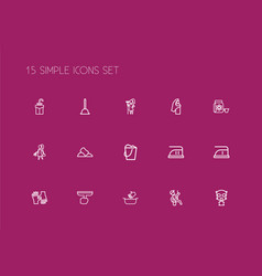 Set of 15 editable cleaning outline icons vector