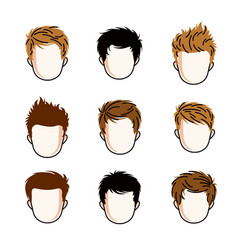 set of boys faces human heads different vector image