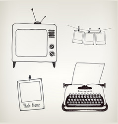 set of hand drawn vintage typewriter tv vector image