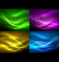 set of neon flowing waves vector image