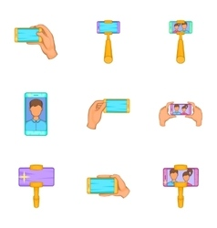 Shooting on cell phone icons set cartoon style vector