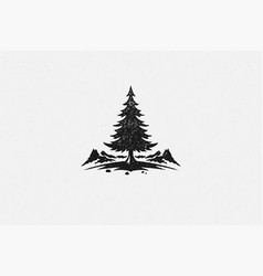 Silhouette coniferous forest tree located near vector