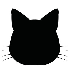 Silhuette cat feline head whiskers image vector