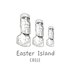stone statues of moai statue idol chile vector image