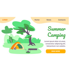 Summer camping banner tent backpack campfire vector