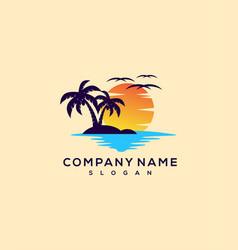 sunset logo vector image