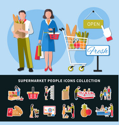 Supermarket people icons collection vector