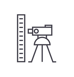 theodolite survey calculation linear icon sign vector image