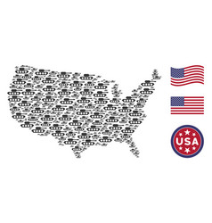 united states map stylized composition of military vector image
