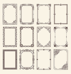 Vintage swirly black and white elegant frames set vector