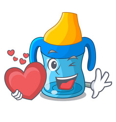with heart cartoon baby drinking from training cup vector image