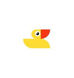 yellow rubber duck logo ducky bath toy flat icon vector image
