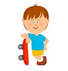 cute little boy leans on his skateboard vector image vector image