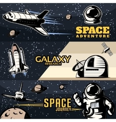 Space Horizontal Banners Set vector image