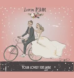 the bride and groom on bike vector image
