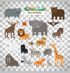 zoo animals icons on transparent background vector image