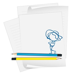 A paper with a sketch of a lady ready for the vector image vector image