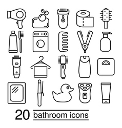 bathroom icons collection vector image
