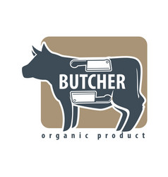 butchery logotype sign with cow and two meat vector image vector image