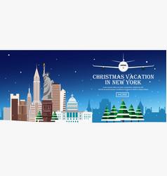 christmas journey to usa new york flat vector image