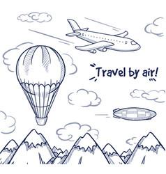doodle air trip concept vector image