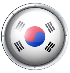 flag of south korea in round frame vector image vector image