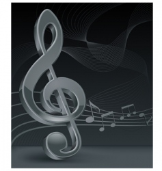 grey treble clef on black vector image