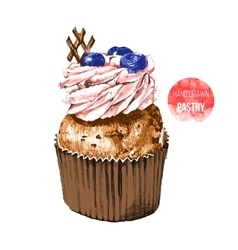 Hand drawn cupcake in color vector image