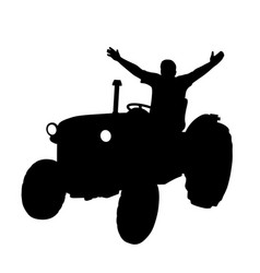 Happy farmer on tractor with raised hands vector