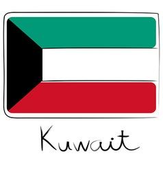 Kuwait flag doodle vector image vector image